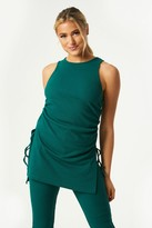 Thumbnail for your product : Little Mistress Mylan Emerald Green Ribbed Ruched Side Longline Top Co-ord