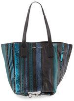 Marc Jacobs Wingman Striped Tote Bag, Teal/Multi