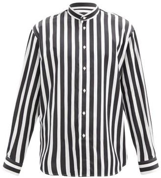 Givenchy Striped Stand-collar Cotton-poplin Shirt - Black White