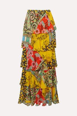 Etro Ruffled Printed Silk-chiffon Maxi Skirt - Yellow