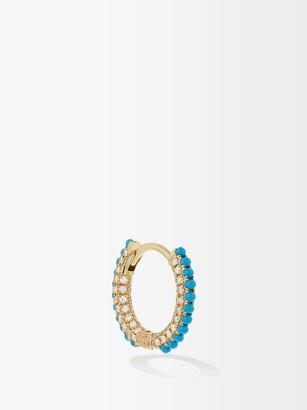 Maria Tash Diamond, Turquoise & 18kt Gold Earring - Blue