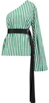 SOLACE London Freja One-Shoulder Striped Cotton Top