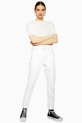 Topshop Womens Petite White Mom Jeans - Off White
