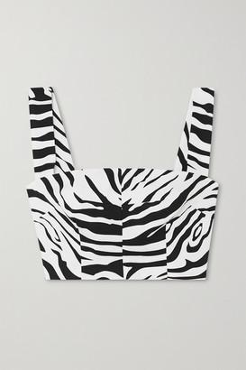 Dolce & Gabbana Cropped Zebra-print Cotton-blend Top - White