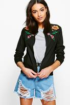 Boohoo Harriet Floral Embroidered Bomber