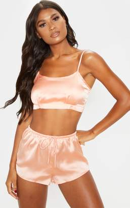 PrettyLittleThing Peach Tie Back Crop Satin Short Pyjama Set