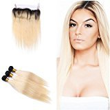 Tony Beauty Hair 360 Lace Band With Ombre #1B/613 Hair 3 Bundles Dark Root Silky Straight 2 Tone Ombre Hair Weft With Full Lace Band Frontal Closure With Baby Hair (24 26 28+22 inch)