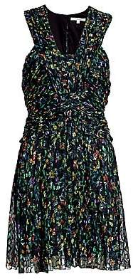 Derek Lam 10 Crosby Women's Floral Ruched Silk-Blend A-Line Dress