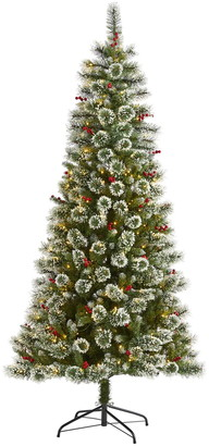 Nearly Natural 7ft. Frosted Swiss Pine Artificial Christmas Tree