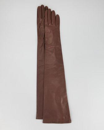 Portolano Opera-Length Leather Gloves, Tan