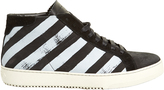 Off-White Striped high-top nubuck-leather trainers