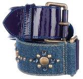 Louis Vuitton Studded Denim & Patent Belt