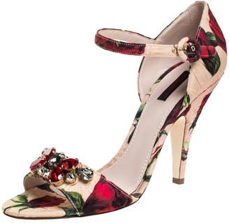 Dolce & Gabbana Multicolor Floral Brocade Keira Ankle Strap Sandals Size 40