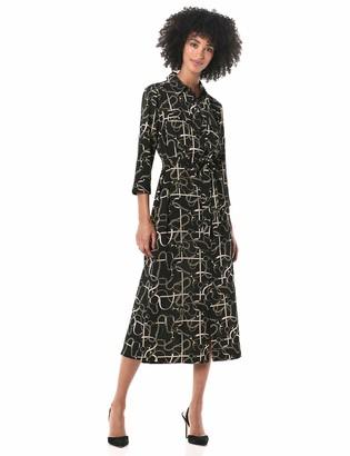 Donna Morgan Women's Stretch Crepe Printed Collared Shirt Dress