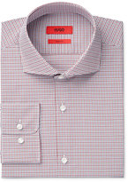 HUGO BOSS Men's Fitted Dark Red Plaid Dress Shirt