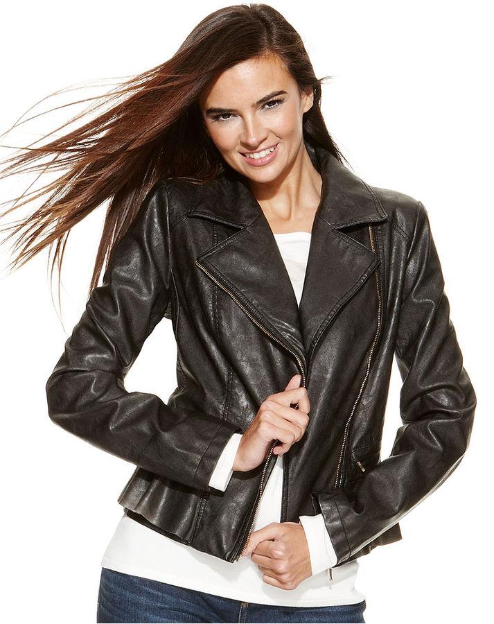 INC International Concepts Faux-Leather Peplum Moto Jacket