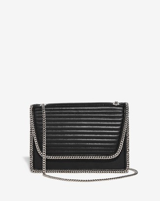 Express Chain Detail Quilted Shoulder Bag