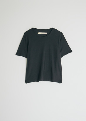 Raquel Allegra Women's Boxy T-Shirt in Black, Size 1 | Cotton/Polyester