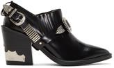 Toga Pulla Black Heeled Western Harness Boots