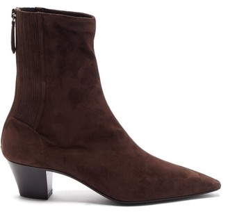 Aquazzura Saint Honore Suede Ankle Boots - Brown