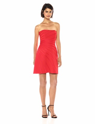 Halston Women's Strapless Crepe Dress with Satin Strip Applique
