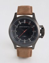 French Connection Watch Dark Brown Leather Strap Black Dial