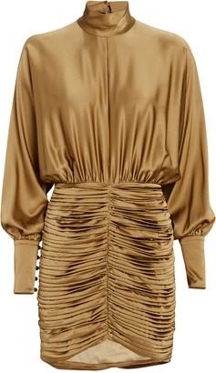 retrofete Barbara Ruched Silk Satin Dress