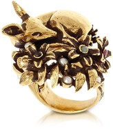 Alcozer & J Fawn Goldtone Brass Ring w/Glass Pearl
