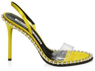 Alexander Wang Nova Crystal-Studded PVC & Satin Slingback Sandals
