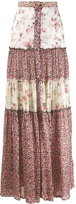 Wandering Contrast Panel Tiered Skirt