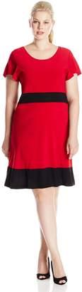 Star Vixen Women's Plus-Size Short Sleeve Colorblock Skater Dress