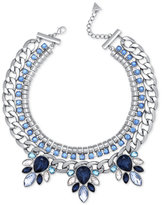 GUESS Silver-Tone Blue and Clear Crystal Statement Necklace