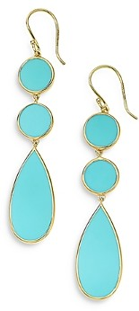 Ippolita 18K Yellow Gold Rock Candy Turquoise Double Dot and Teardrop Earrings