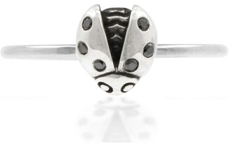 Lee Renee Ladybird Black Diamond Ring/Wings Open - Silver