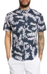 Club Monaco Slim Fit Bosque Leaf Print Shirt