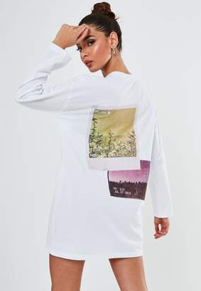 Missguided Petite White Faded Graphic Back T Shirt Dress