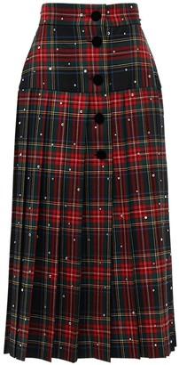 Miu Miu Pleated Tartan Wool & Crystal Midi Skirt