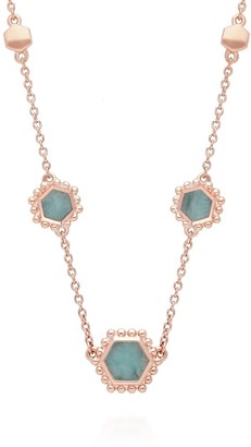 Gemondo Amazonite Slice Necklace In Rose Gold Plated Silver
