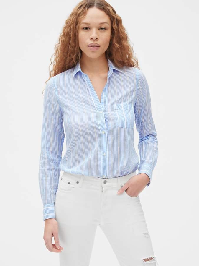 67c7896bb00 Fitted Boyfriend Dobby Stripe Shirt