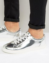 Asos Lace Up Sneakers In Silver Metallic