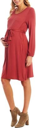 Everly Grey Alina Long Sleeve Jersey Maternity/Nursing Dress