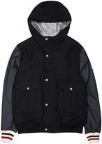 Moncler Gamme Bleu Navy Shell And Wool Waffle-knit Jacket