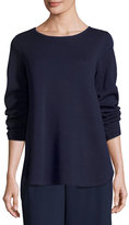 Eileen Fisher Long-Sleeve Silk/Cotton Interlock Boxy Top, Blue Steel, Plus Size