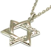 """The Olivia Collection TOC Silvertone Clear Rhinestone Set Star of David Pendant On 18"""" Chain"""