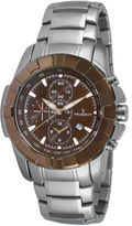Peugeot Men's Silver Tone Brown Dial Calendar Bracelet Watch 1044BR