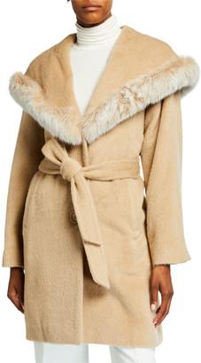 Sofia Cashmere Belted Fox Fur-Trim Hooded Coat