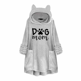 YEBIRAL Pullover Hoodie for Women Sweatshirts Plus Size Fleece Embroidery Cat Ear Plus Size Pocket Top Sweater Blouse Gray