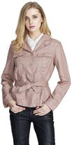 JOLLYCHIC Women's Notched Collar Single Breasted Casual Jacket with Bowknot Belt XL