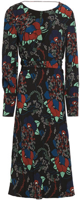 BA&SH Belted Wrap-effect Printed Crepe Midi Dress