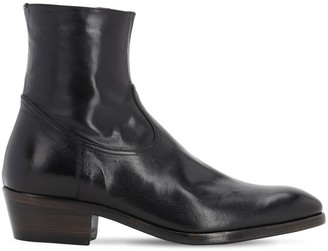 Silvano Sassetti 50MM WASHED LEATHER ZIP-UP BOOTS